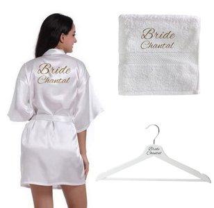 Bruidsset | Kimono, handdoek en kledinghanger